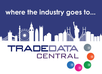 TRADEDATA Central logo on a white skyline with blue sky