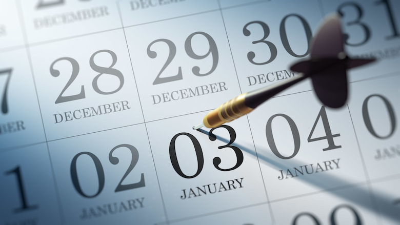 Calendar with 3rd of January highlighted with a dart in it