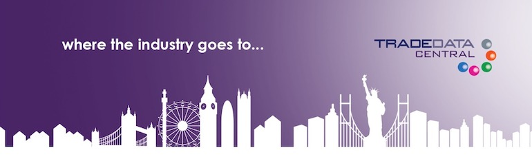 TRADEDATA Cengtral logo on a purple background with a white city skyline